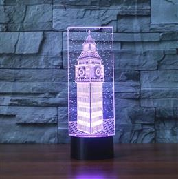 3D Big Ben Visual Night Light Colorful London Building Elizabeth Tower Table Lamp Bedroom Decor