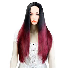 Synthetic Wigs Ombre Black Red Long Straight Hair for Women